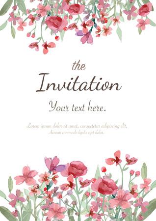 Virág esküvői meghívó, mentse a dátum kártya, üdvözlőkártya Illusztráció