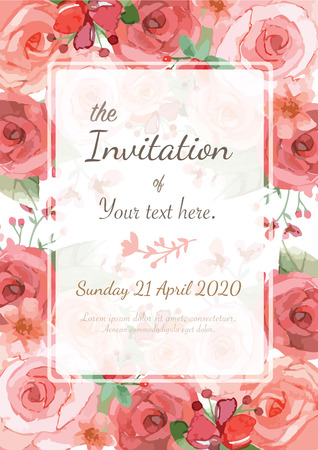 flower border pink: Flower wedding invitation card, save the date card, greeting card