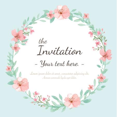 花結婚式招待状、グリーティング カードの日付を保存  イラスト・ベクター素材