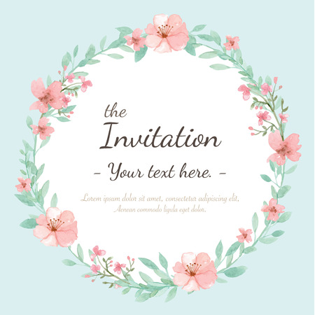 pastel background: Flower wedding invitation card, save the date card, greeting card