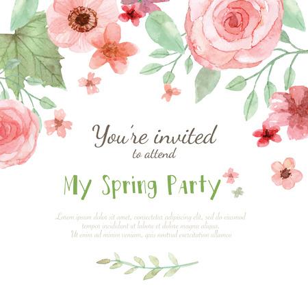 esküvő: Virág esküvői meghívó, mentse a dátum kártya, üdvözlőkártya Illusztráció