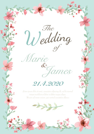 pink wedding: Flower wedding invitation card, save the date card, greeting card
