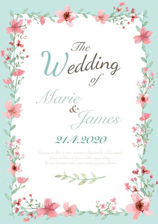 bordes decorativos: Tarjeta de invitación de la boda de la flor, la tarjeta de fecha, tarjetas de felicitación Vectores