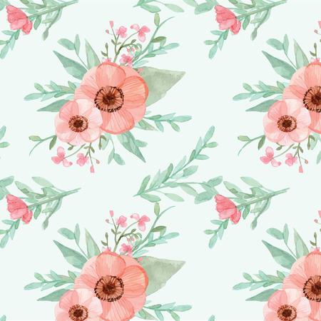 llanura: Flores inconsútiles y las hojas del papel pintado del vector en el fondo plano Vectores