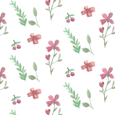 plain background: Seamless flowers and leaves wallpaper pattern vector on plain background