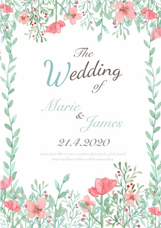 pink flowers: Flower wedding invitation card, save the date card, greeting card