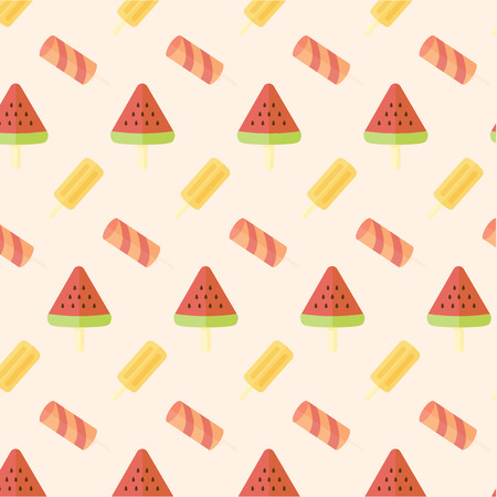 popsicle: Ice cream and popsicle seamless pattern on plain background