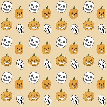 terrible: Halloween pumpkin vector seamless pattern on plain background