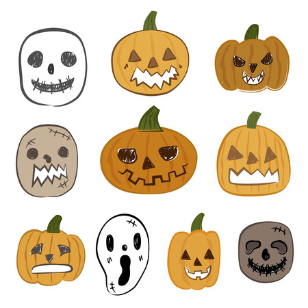 ghost face: Halloween pumpkin and ghost face vector icon set