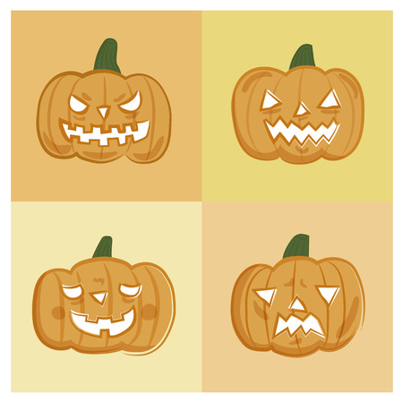 ghost face: Halloween pumpkin ghost face vector icon set