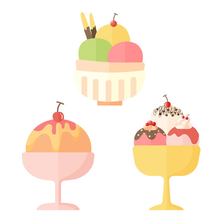 custard flavor: Vector collection of ice cream and dessert icons design set Illustration