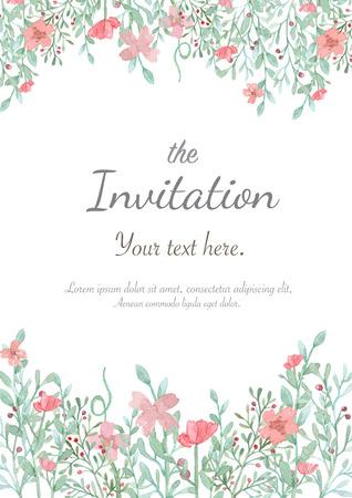 Tarjeta de invitación de la boda de la flor, la tarjeta de fecha, tarjetas de felicitación Foto de archivo - 47826318