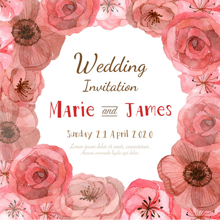 Flower wedding invitation card, save the date card, greeting card Stock Vector - 47832177