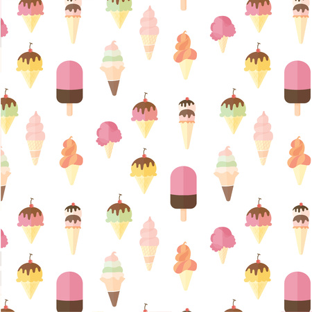 popsicle: Ice cream and popsicle seamless pattern on white background