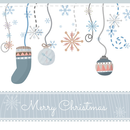 cute border: Vector Christmas Greeting Card. Merry Christmas lettering and background Illustration
