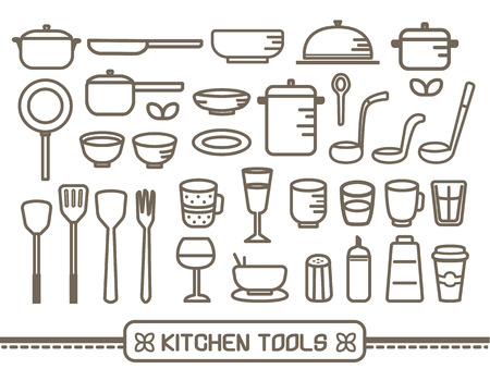 kitchen tool: Vector of cooking and kitchen tool outline icons set Illustration
