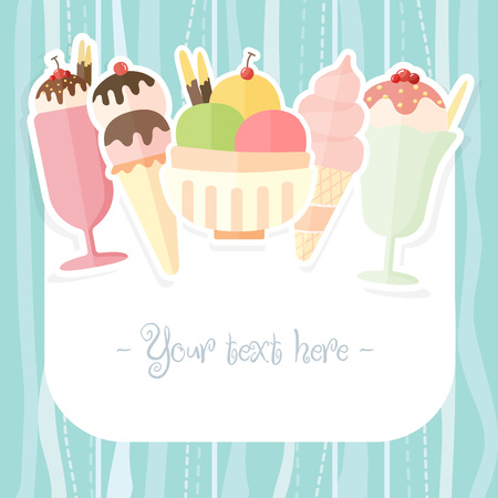 popsicle: Ice cream and popsicle colorful summer time background