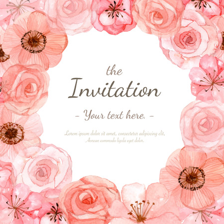 graphic pastel: Flower wedding invitation card, save the date card, greeting card
