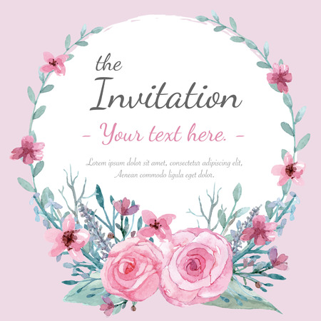 graphic illustration: Flower wedding invitation card, save the date card, greeting card