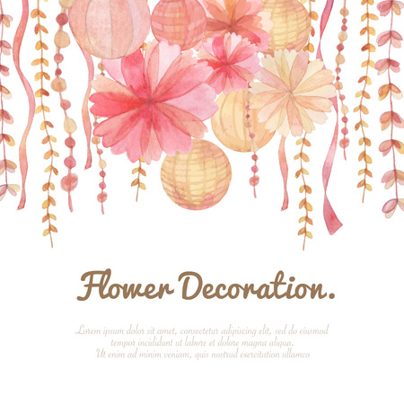 Flowers invitation decoration on white background