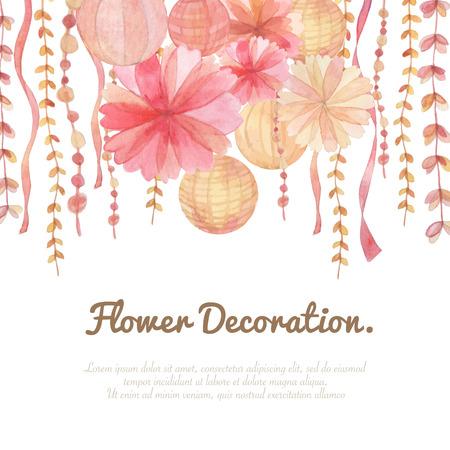 Flowers invitation decoration on white background