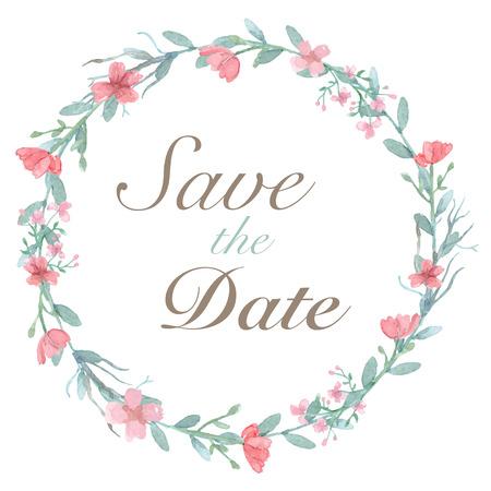 Tarjeta de invitación de la boda de la flor, la tarjeta de fecha, tarjetas de felicitación Foto de archivo - 47832345