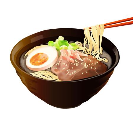 食品イラスト、白い背景に分離された日本の食べ物イラスト