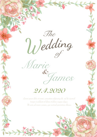pink wedding: Flower wedding invitation card, save the date card, greeting card, valentine card Stock Photo