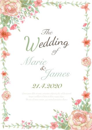 Tarjeta de invitación de boda de la flor, la tarjeta de fecha, tarjetas de felicitación, tarjetas de San Valentín Foto de archivo