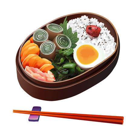 japanese culture: Food Illustration, Japanese Food Illustration isolated on white background