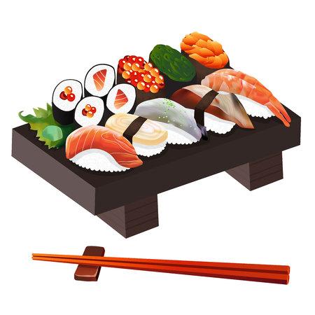 comida japonesa: Ilustración comida, japonesa Ilustración alimentos aislados sobre fondo blanco