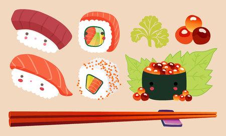 cute background: Japanese Food Illustration, Sushi cartoon comic cute Characters Vector set