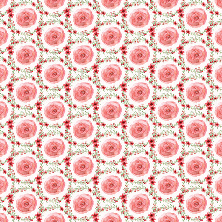 plain: Seamless flowers and leaves wallpaper pattern on plain background Stock Photo