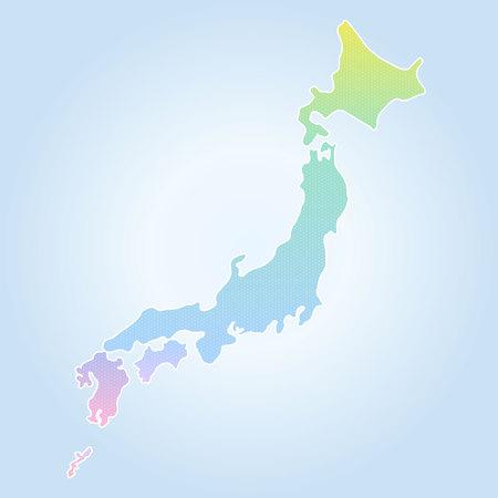 Japan map high detailed Illustration  イラスト・ベクター素材