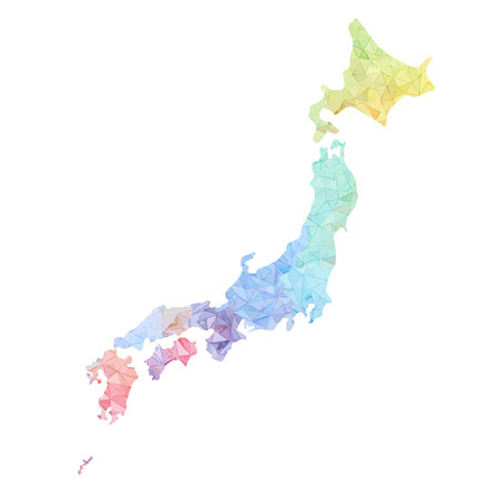 Japan map high detailed Illustration Vettoriali