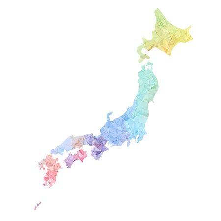 Giappone mappa ad alta illustrazione dettagliata Vettoriali