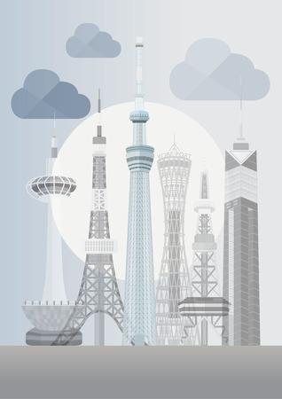 kobe: Travel Japan famous tower series illustration - Tokyo Skytree
