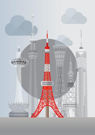 日本の有名な塔シリーズ イラスト - 東京タワーを旅行します。