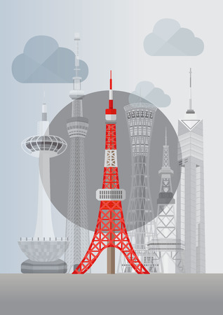 kyoto: Travel Japan famous tower series illustration - Tokyo Tower