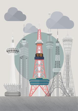 旅行の日本有名なタワー シリーズ イラスト - さっぽろテレビ塔