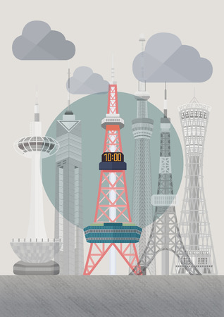 tv tower: Travel Japan famous tower series  illustration - Sapporo TV Tower