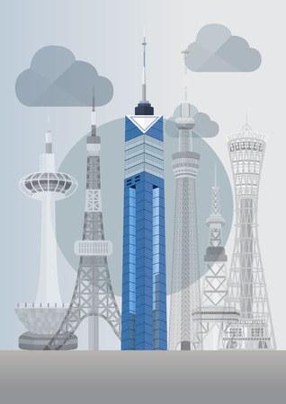 Travel Japan famous tower series illustration - Fukuoka Tower