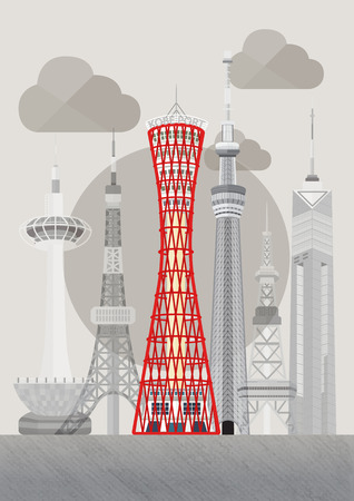Travel Japan famous tower series illustration - Kobe Port Tower  イラスト・ベクター素材