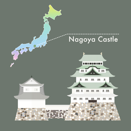 Travel Japan famous castle series vector illustration - Nagoya Castle
