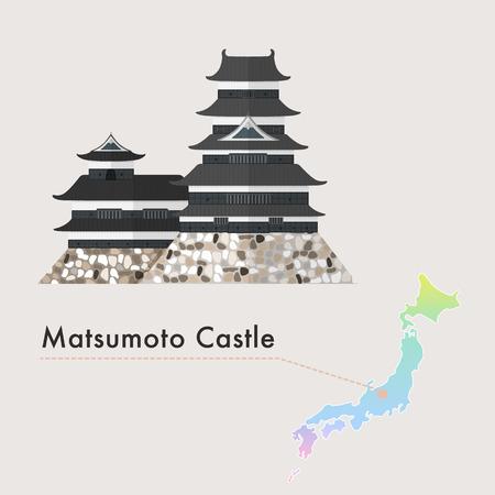 prefecture: Travel Japan famous castle series vector illustration - Matsumoto Castle Illustration