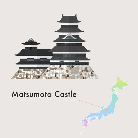 Travel Japan famous castle series vector illustration - Matsumoto Castle Ilustracja
