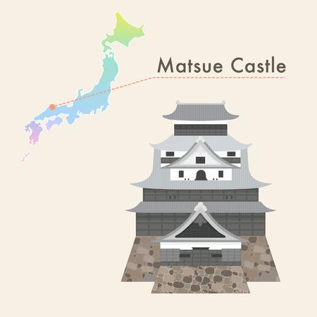 prefecture: Travel Japan famous castle series vector illustration - Matsue Castle