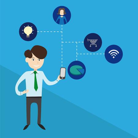 adverso: empleado de negocios la celebraci�n de un tel�fono inteligente y muestra su potencial de comunicaci�n adverso web y la web de compras