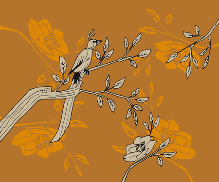 long tail: bird with long tail sits a branch with leaves and flowers on an orange background in oriental style