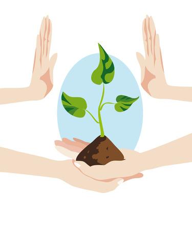 avuç: eller tutun ve yeni bir hayat ve umut simgeleyen yaprakları ile yeni filiz büyüdü hangi toprağın bir avuç korumak